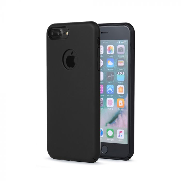 Carcasa iPhone 8 Plus Meleovo 360 Shield Black (culoare mata fina, captuseala din microfibra)