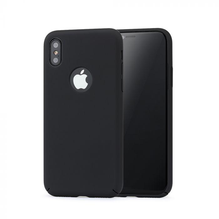 Carcasa iPhone X Meleovo 360 Shield Black (culoare mata fina, captuseala din microfibra)