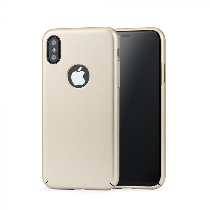 Carcasa iPhone X Meleovo 360 Shield Gold (culoare metalizata fina, captuseala din microfibra)