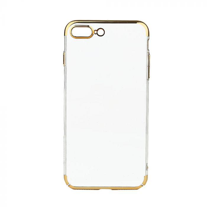 Carcasa iPhone 7 Plus Meleovo Flash Slim II Gold (spate transparent, margini electroplacate, protect