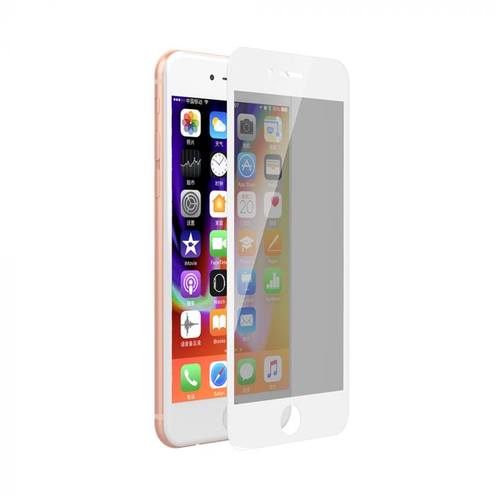 Folie iPhone 8 Plus / 7 Plus Devia Sticla Privacy Full White (0.26mm, 9H)