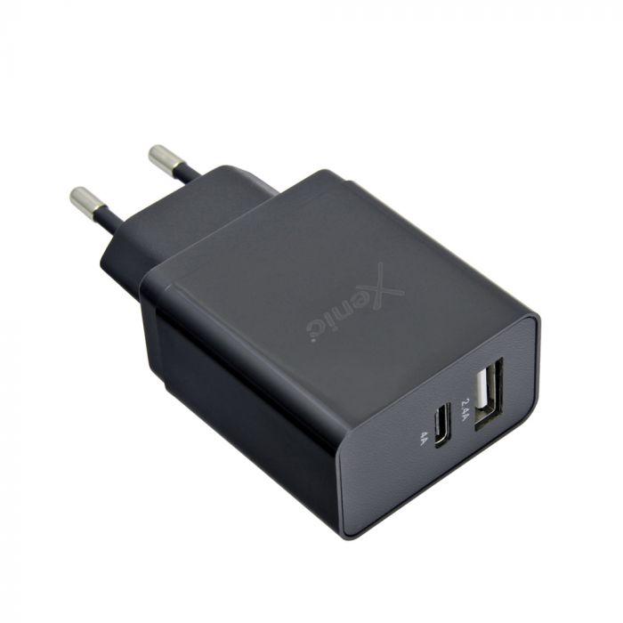 Incarcator Retea 4A Xenic USB + Type-C Black (1xport USB max 2.4A, 1x port Type-C max 4A)