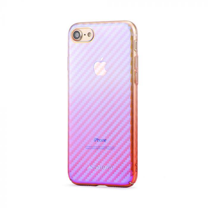 Carcasa iPhone 8 Meleovo Cameleon Flash Carbon Purple (cu reflexii Blue)