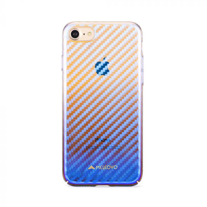 Carcasa iPhone 8 Meleovo Cameleon Flash Carbon Red (cu reflexii Blue)