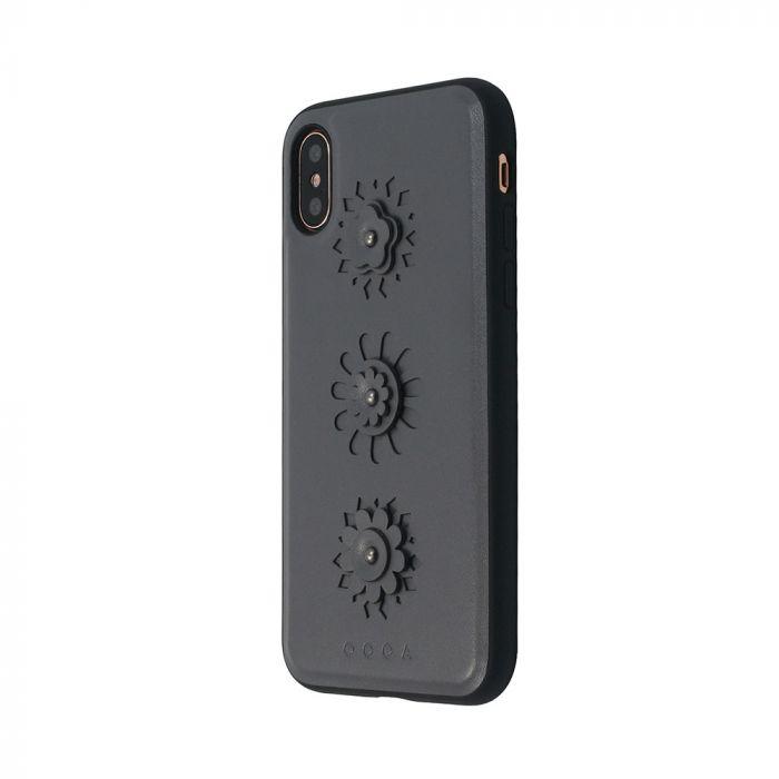 Carcasa iPhone X Occa Burch Gray (cu motive florale aplicate si margini cauciucate)
