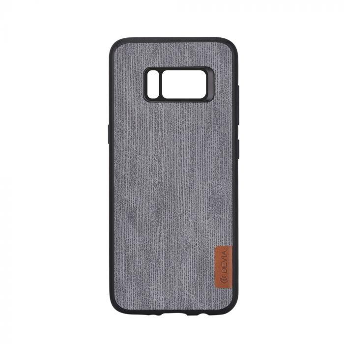 Carcasa Samsung Galaxy S8 G950 Devia Flax Case Gray (margini cauciucate negre)