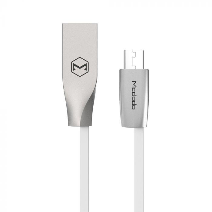 Cablu MicroUSB Mcdodo Zn-Link Silver White (1.5m, 2.4A max)