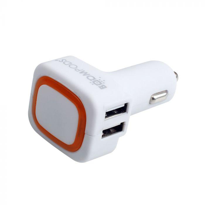 Incarcator Auto Boompods 6A Quad USB White (4xUSB, led indicator, incarare rapida)