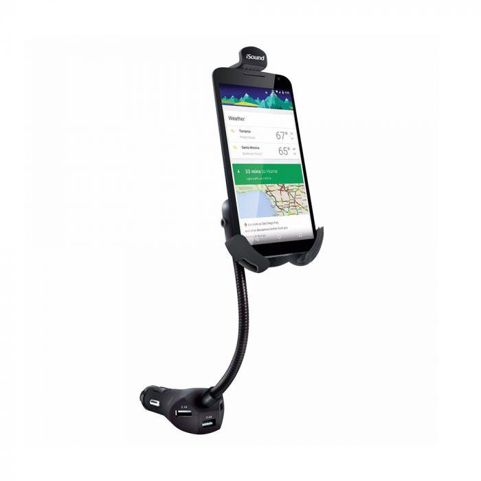 Incarcator Auto iSound 5.5A 3xPort USB + Suport ajustabil (cablu audio inclus)