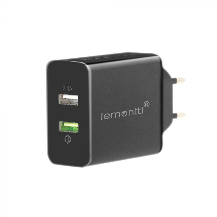 Incarcator Retea Lemontti Quick Charge Dual USB Negru