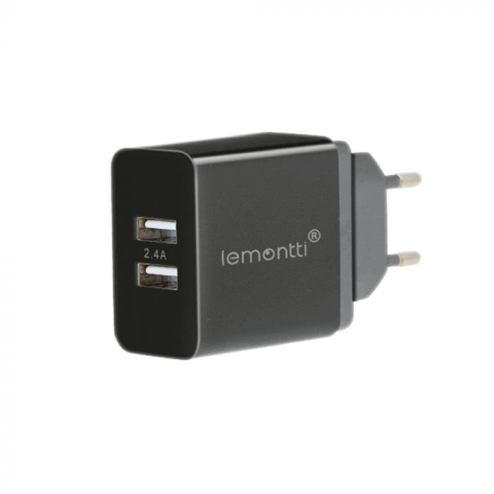 Incarcator Retea Lemontti 2.4A Dual USB Negru