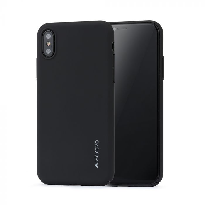 Carcasa iPhone X / XS Meleovo Metallic Slim 360 Black (culoare metalizata fina)