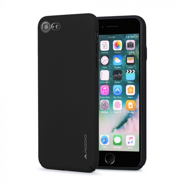 Carcasa iPhone 8 / 7 Meleovo Metallic Slim 360 Black (culoare metalizata fina)