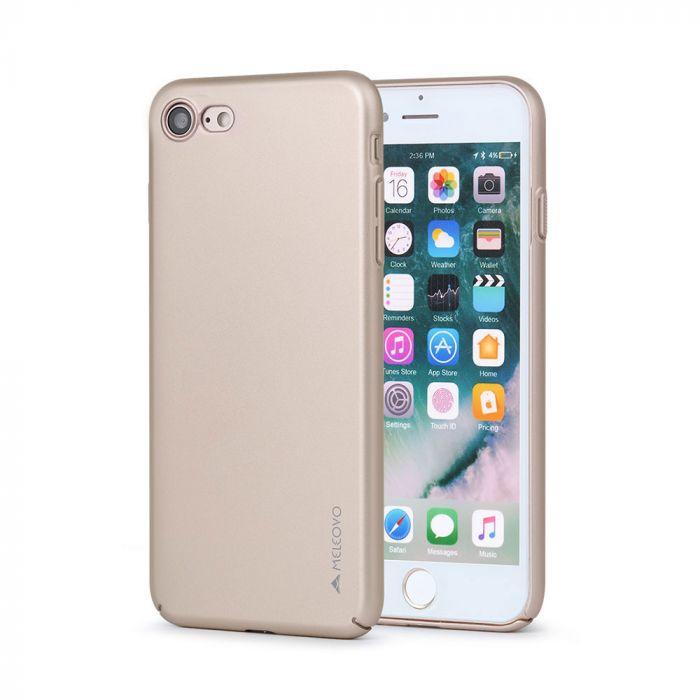 Carcasa iPhone 8 / 7 Meleovo Metallic Slim 360 Gold (culoare metalizata fina)