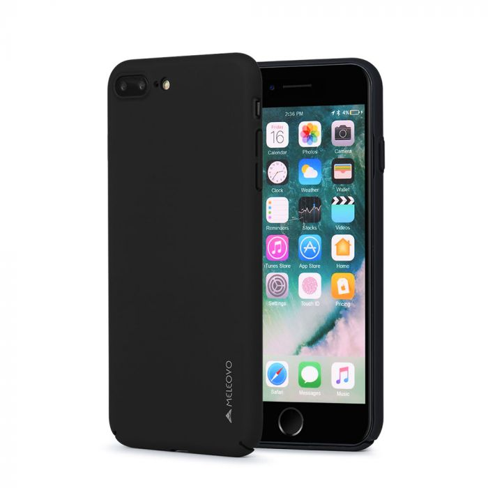 Carcasa iPhone 8 Plus / 7 Plus Meleovo Metallic Slim 360 Black (culoare metalizata fina)