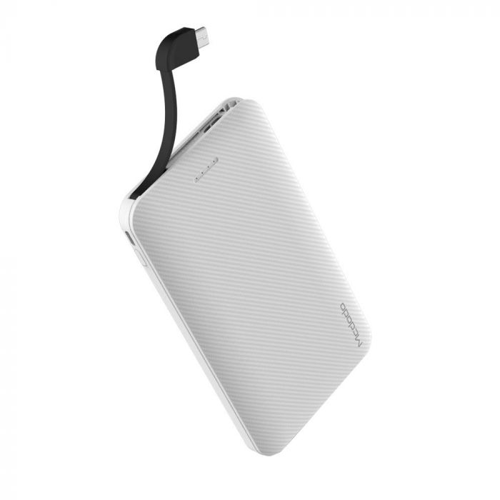 Slim Carbon Fiber Power Bank Mcdodo White 5.000 mAh (cablu microUSB si adaptor lightning incluse)