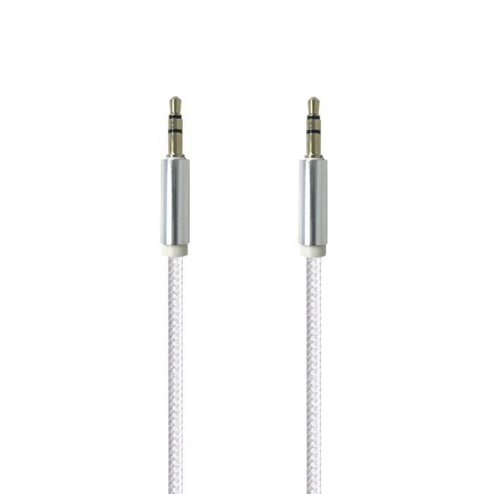 Cablu Jack 3.5mm Procell Audio Alb 1m (impletitura textila)