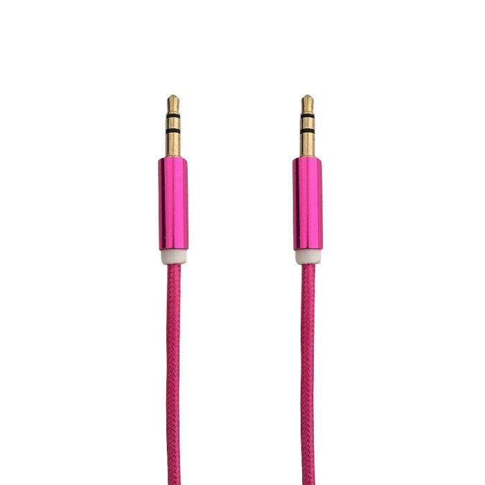 Cablu Jack 3.5mm Procell Audio Rose Red 1m (impletitura textila)