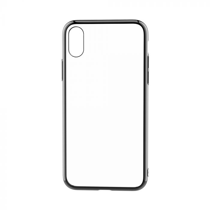 Husa iPhone X Devia Silicon Glitter Soft Gun Black