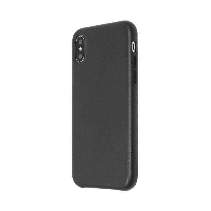 Carcasa iPhone X Just Must Origin Leather Black (piele naturala)