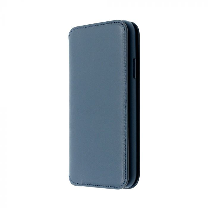 Husa iPhone X Just Must Book Origin Leather Folio Cosmos Blue (piele naturala)