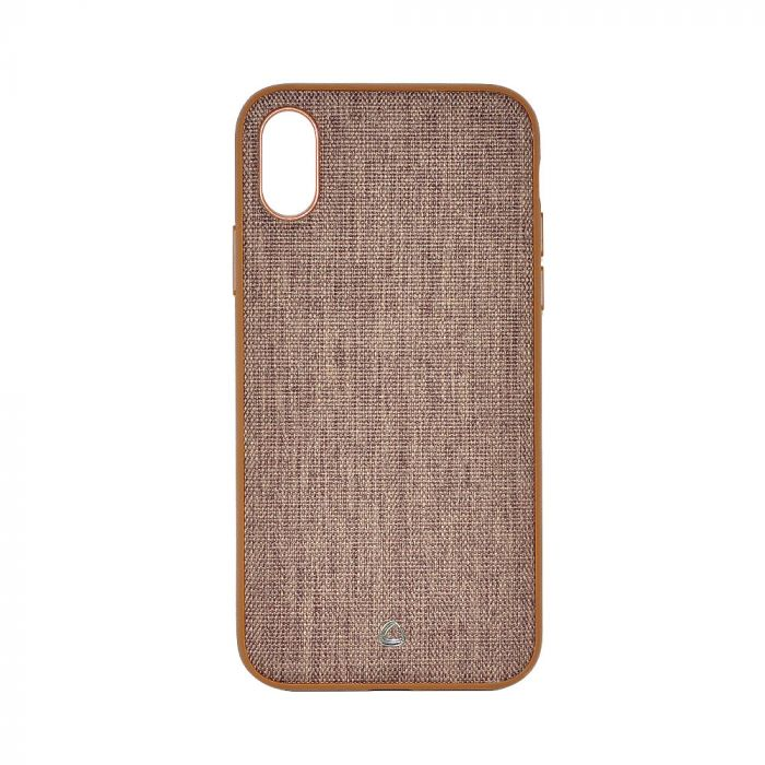 Carcasa iPhone X Occa Linen Car Brown (margini flexibile, material textil, placuta metalica integrat