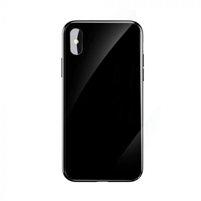 Husa iPhone X Baseus Glass Sparkling Black