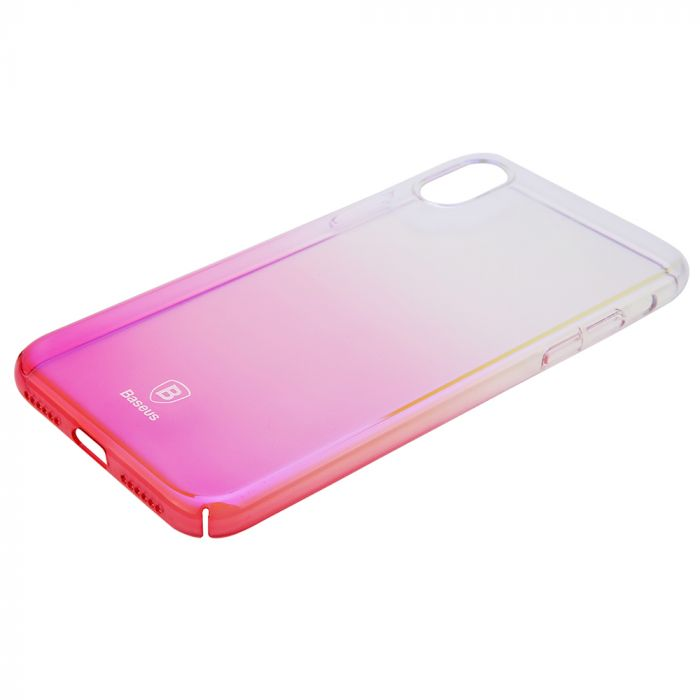 Carcasa iPhone X Baseus Glaze Transparent Pink