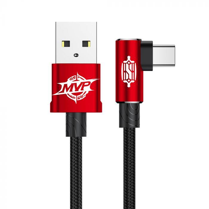 Cablu Type-C Baseus MVP Elbow USB Red (2m, output 1.5A, unghi 90, impletitura nylon)