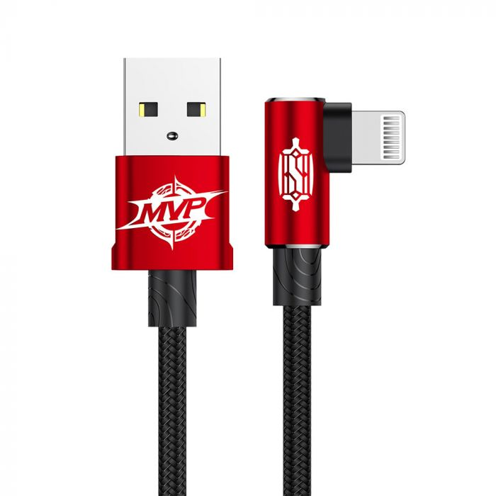 Cablu Lightning Baseus MVP Elbow USB Red (1m, output 2A, unghi 90, impletitura nylon)