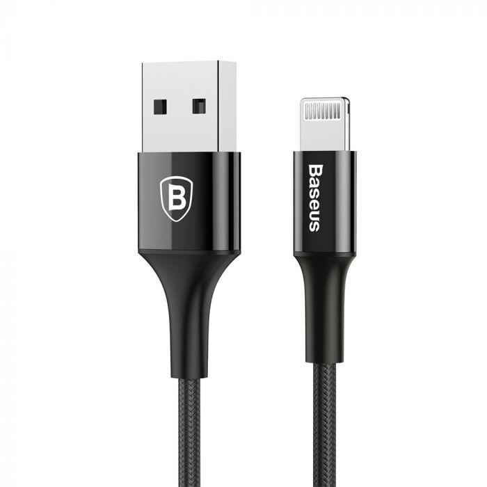 Cablu Lightning Baseus Shining USB with Jet Metal Black (1m, output 2A, impletitura textila)