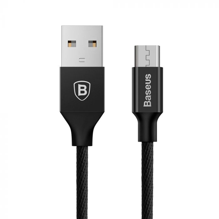 Cablu USB la MicroUSB Baseus Yiven Black (1m, output 2A, impletitura textila)