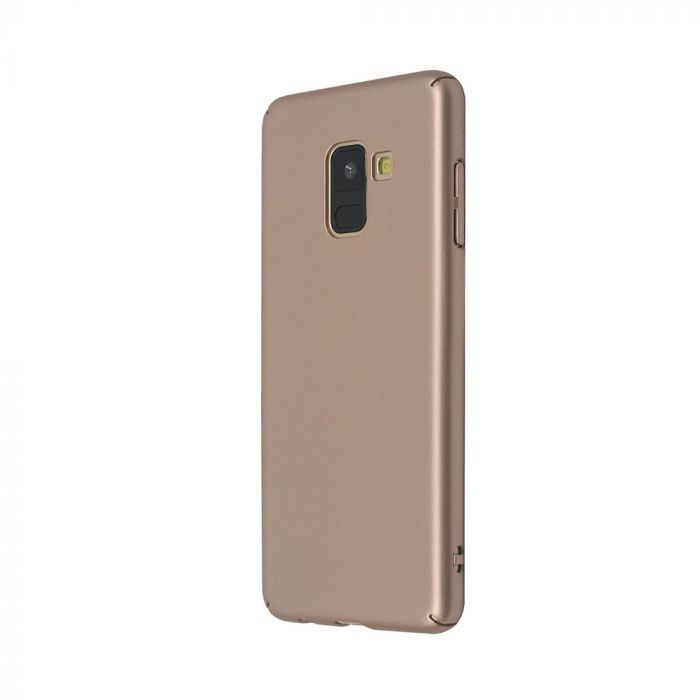 Carcasa Samsung Galaxy A8 (2018) Just Must Uvo Gold (material fin la atingere, slim fit)