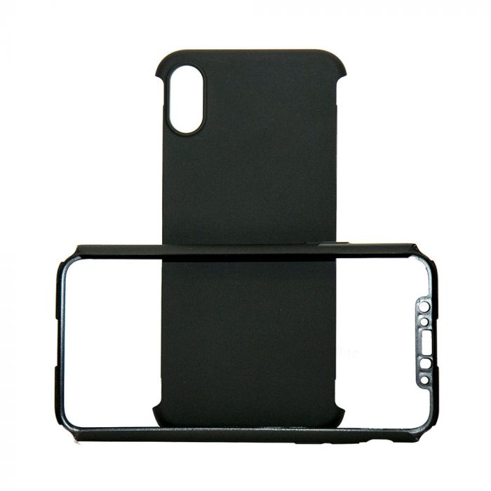 Carcasa iPhone X Just Must Defense 360 Black (3 piese: protectie spate, protectie fata, folie Flexi-