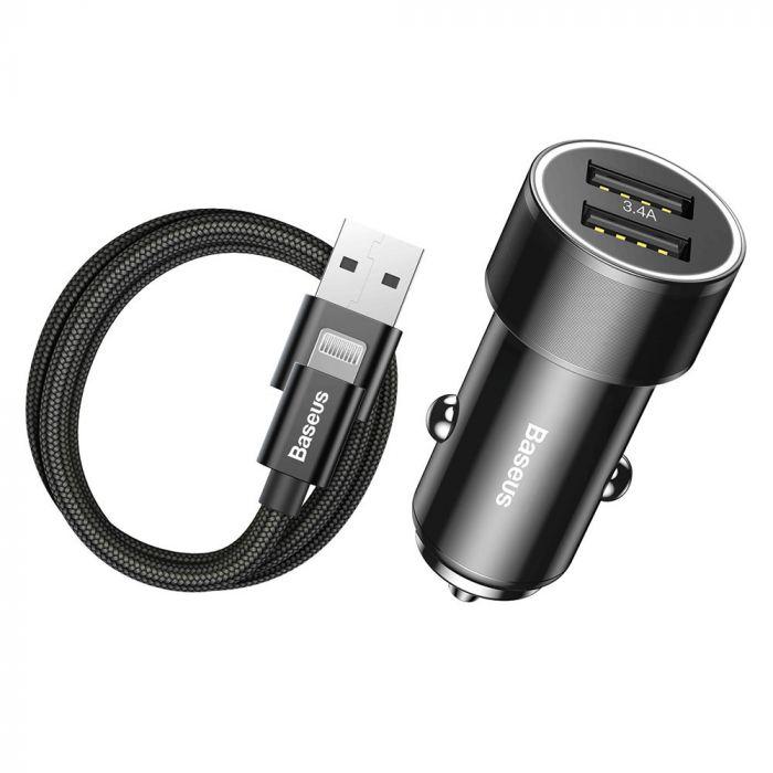 Incarcator Auto Lightning Baseus Small Screw 3.4A Dual USB Black (cablu inclus)