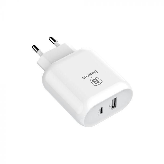 Incarcator Retea Baseus Bojure Quick Charge White (port Type-C max 3A , USB max 1A)