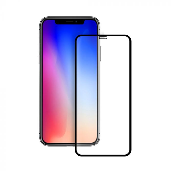 Folie iPhone XS Max Eiger Sticla 3D Edge to Edge Clear Black (0.33mm, 9H, perfect fit, curved, oleop