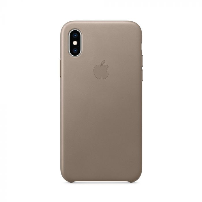Carcasa iPhone XS Apple Leather Taupe (piele naturala)