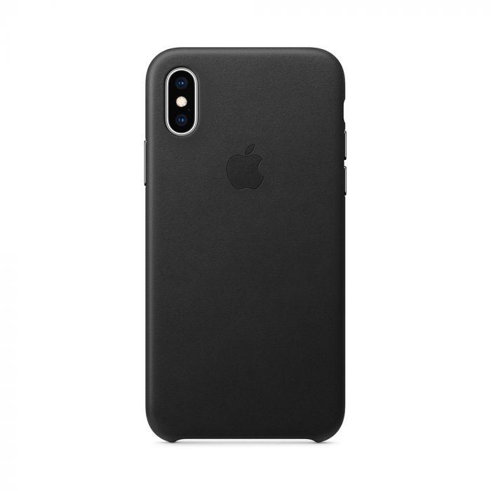 Carcasa iPhone XS Apple Leather Black (piele naturala)