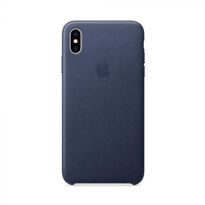 Carcasa iPhone XS Max Apple Leather Midnight Blue (piele naturala)
