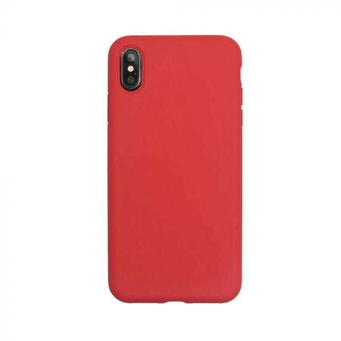 Husa iPhone XS / X Just Must Silicon Pantone Red (captusit cu microfibra, colturi intarite)