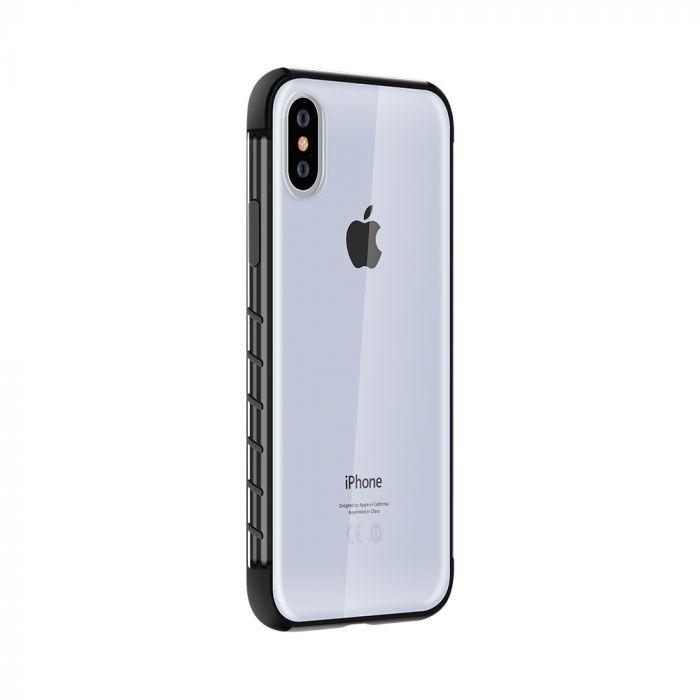 Carcasa iPhone XS / X Devia Dulax Series Black (spate dur transparent si margini antishock)