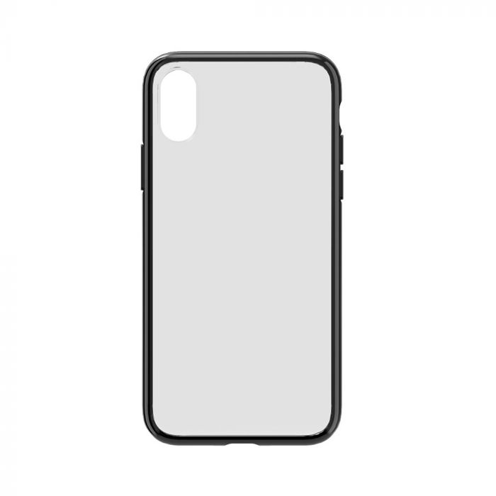 Carcasa iPhone XS / X Devia Elegant Antishock Black (spate dur transparent, margini antishock slim)