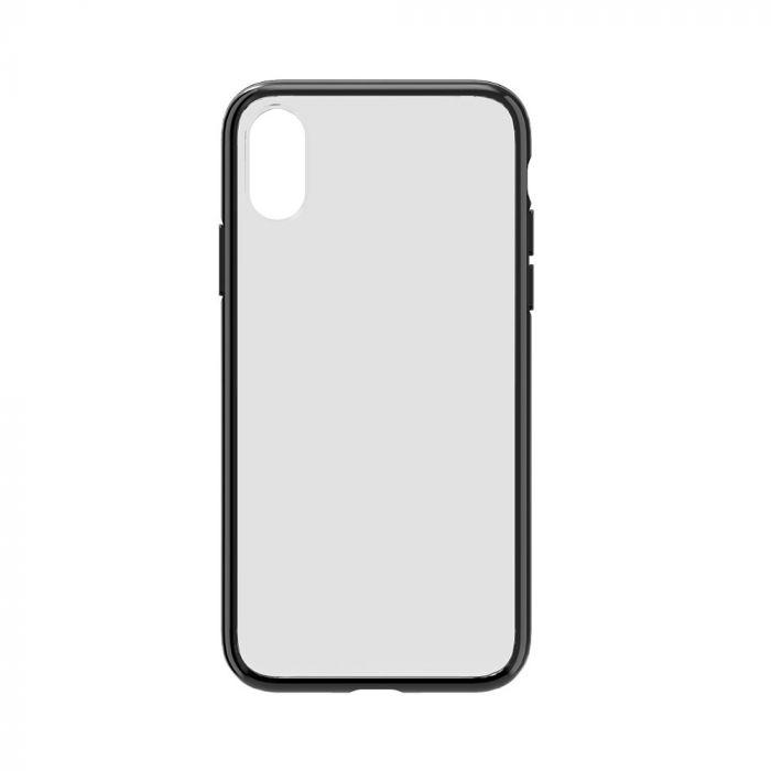 Carcasa iPhone XR Devia Elegant Antishock Black (spate dur transparent, margini antishock slim)