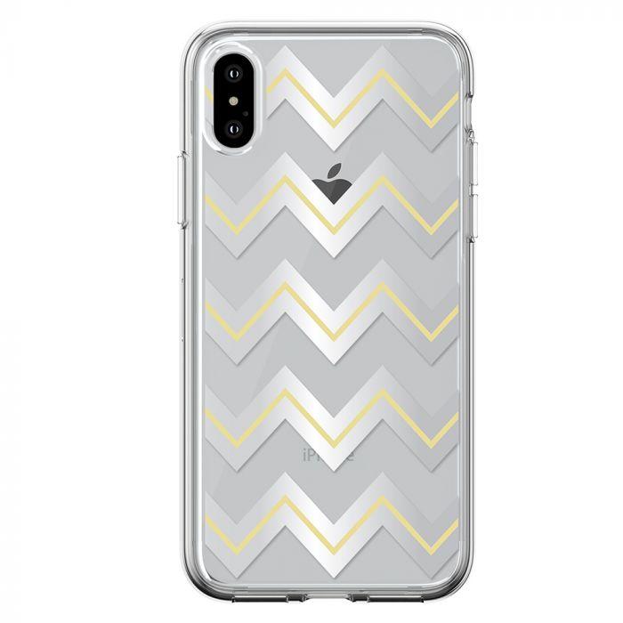 Husa iPhone XS Max Devia Silicon Bowen Series Silver (cu model electroplacat)