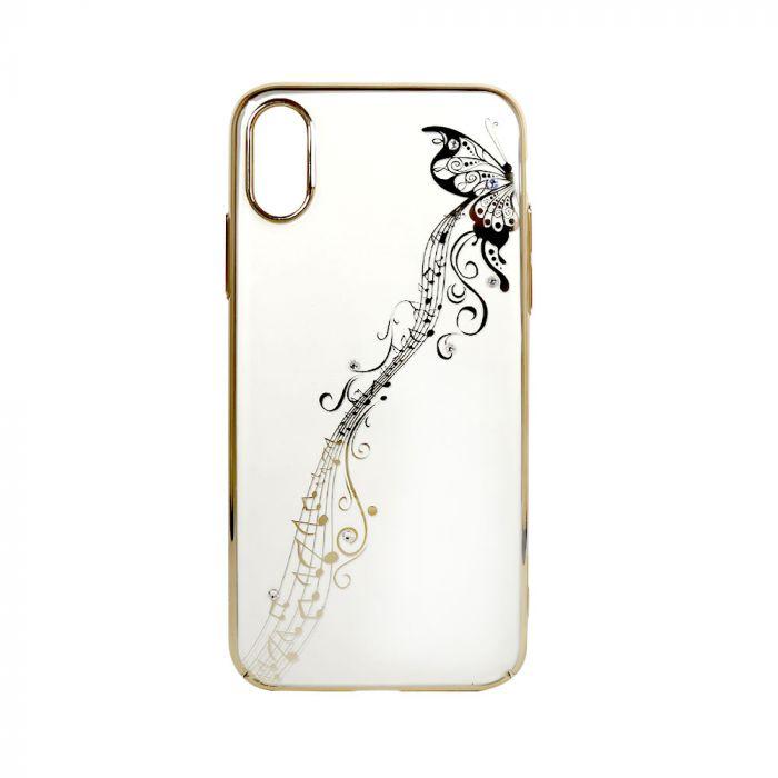 Carcasa iPhone XS / X Devia Papillon Gold (cu cristale)