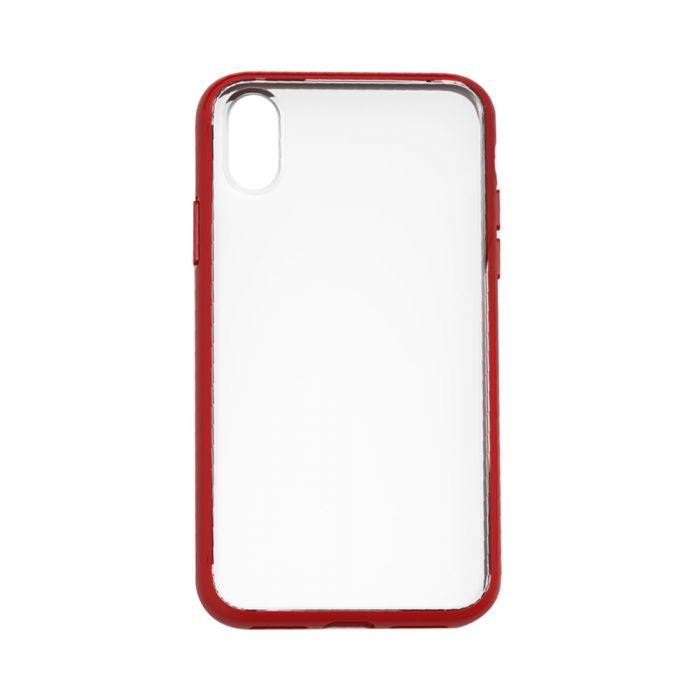 Carcasa iPhone XS Max Devia Elegant Antishock Red (spate dur transparent, margini antishock slim)