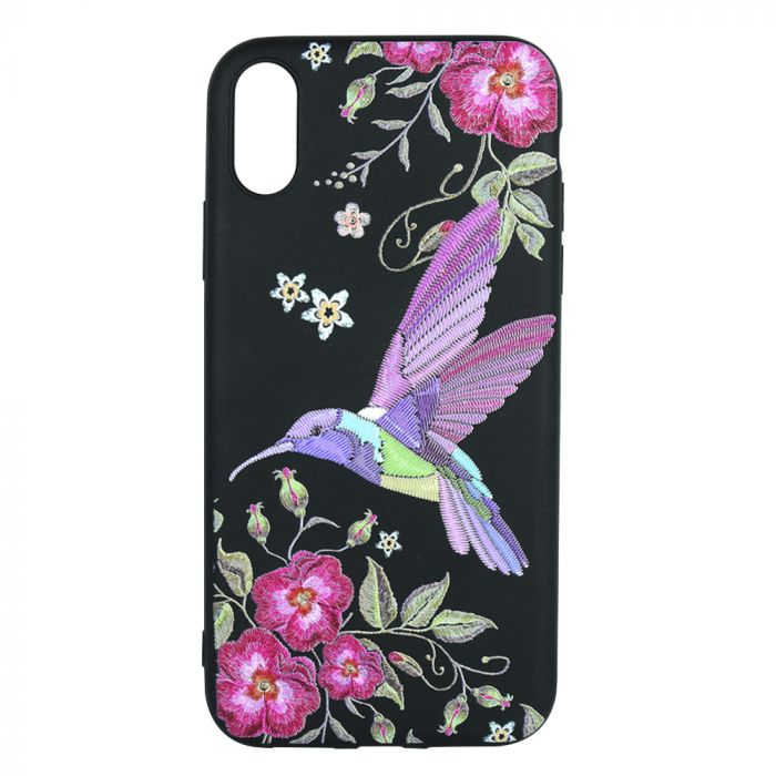 Husa iPhone XR Just Must Silicon Printed Embroidery Colibri