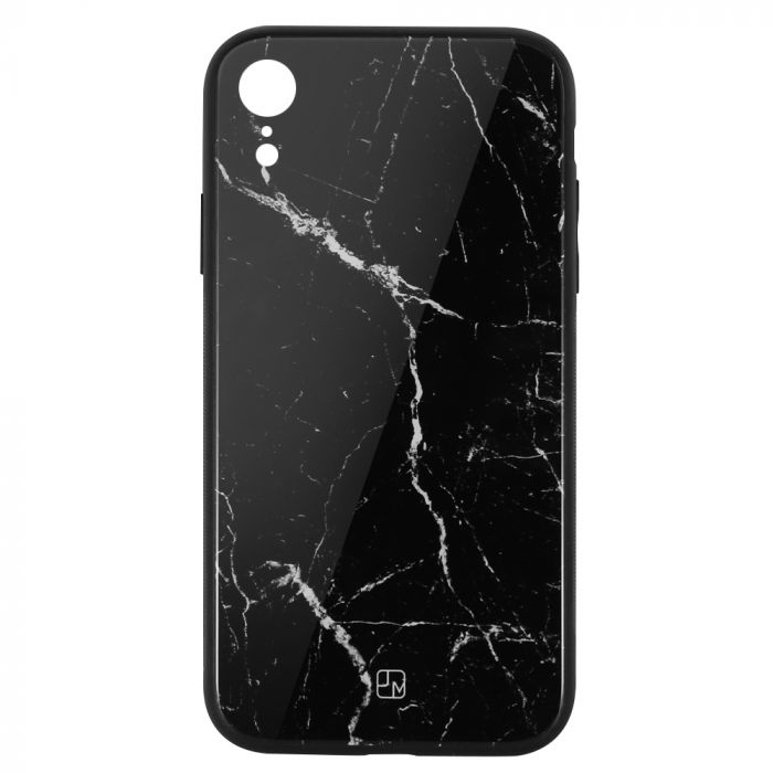 Carcasa Sticla iPhone XR Just Must Glass Print Black Marble