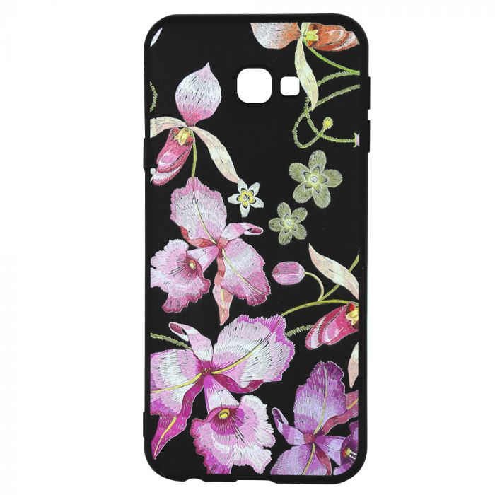Husa Samsung Galaxy J4 Plus Just Must Silicon Printed Embroidery Pink Flowers